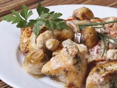 Пиле с гъби и моцарела на фурна