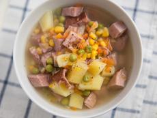 Супа с шунка, зеленчуци и кондензирано мляко