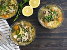 Супа с манатарки, печурки и артишок