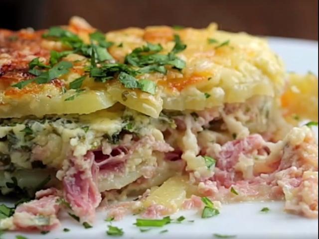 Запечени картофи с шунка и чедър