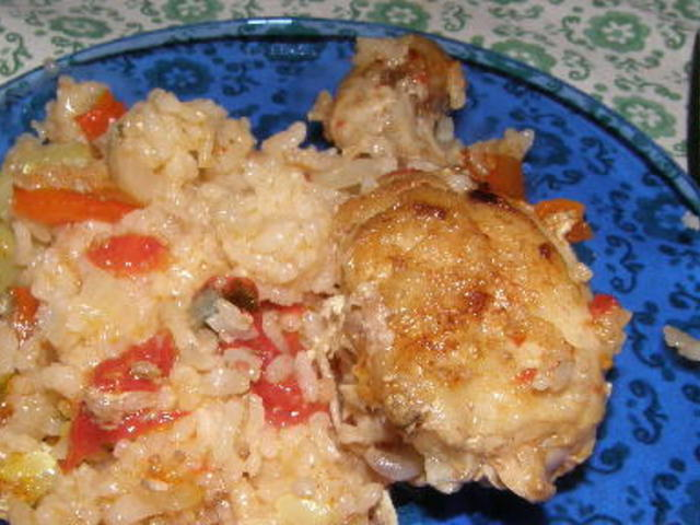 Пиле с ориз и зеленчуци