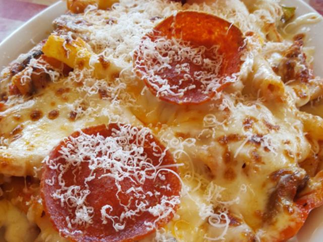 Печени спагети с вкус на пица