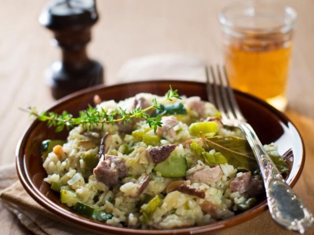 Манджа с телешко, гъби и ориз