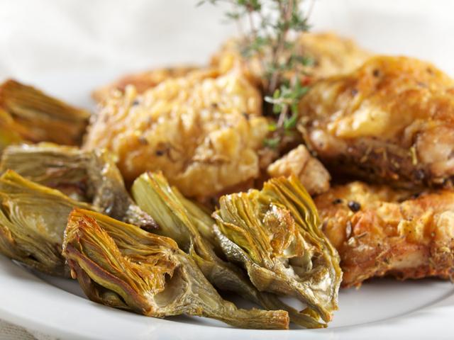 Печено пиле с артишок и пармезан