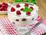 Десерт с кисело мляко и малини